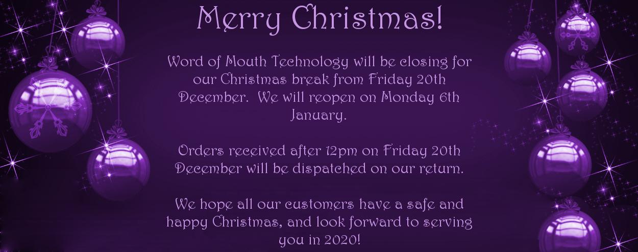 Christmas Closure - 20th Dec to 7th Jan